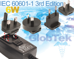 Medical (60601-1) Power Supply AC Adapter European National and CB certifications upgraded to include 2KV IEC61000-4-5 Surge requirement for European Union applications by SIQ per national standard IEC 60601-1:2005 (3rd Edition) and/or EN 60601-1:2006 + A11:2011  and  EN 60601-1:2006 + A11:2011, Model Series GTM41076.
